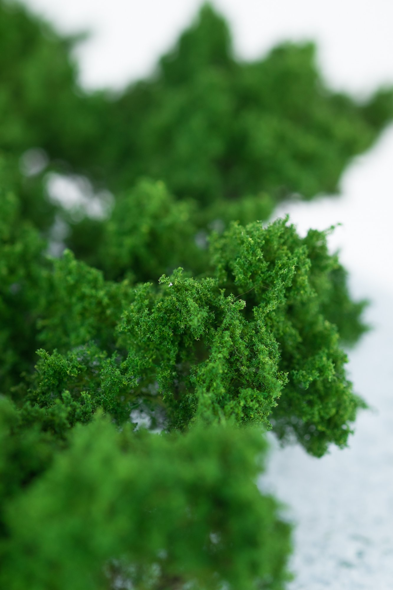 Closeup of foliage on regular green model bushes. Made from high quality model supplies by Primo Models.