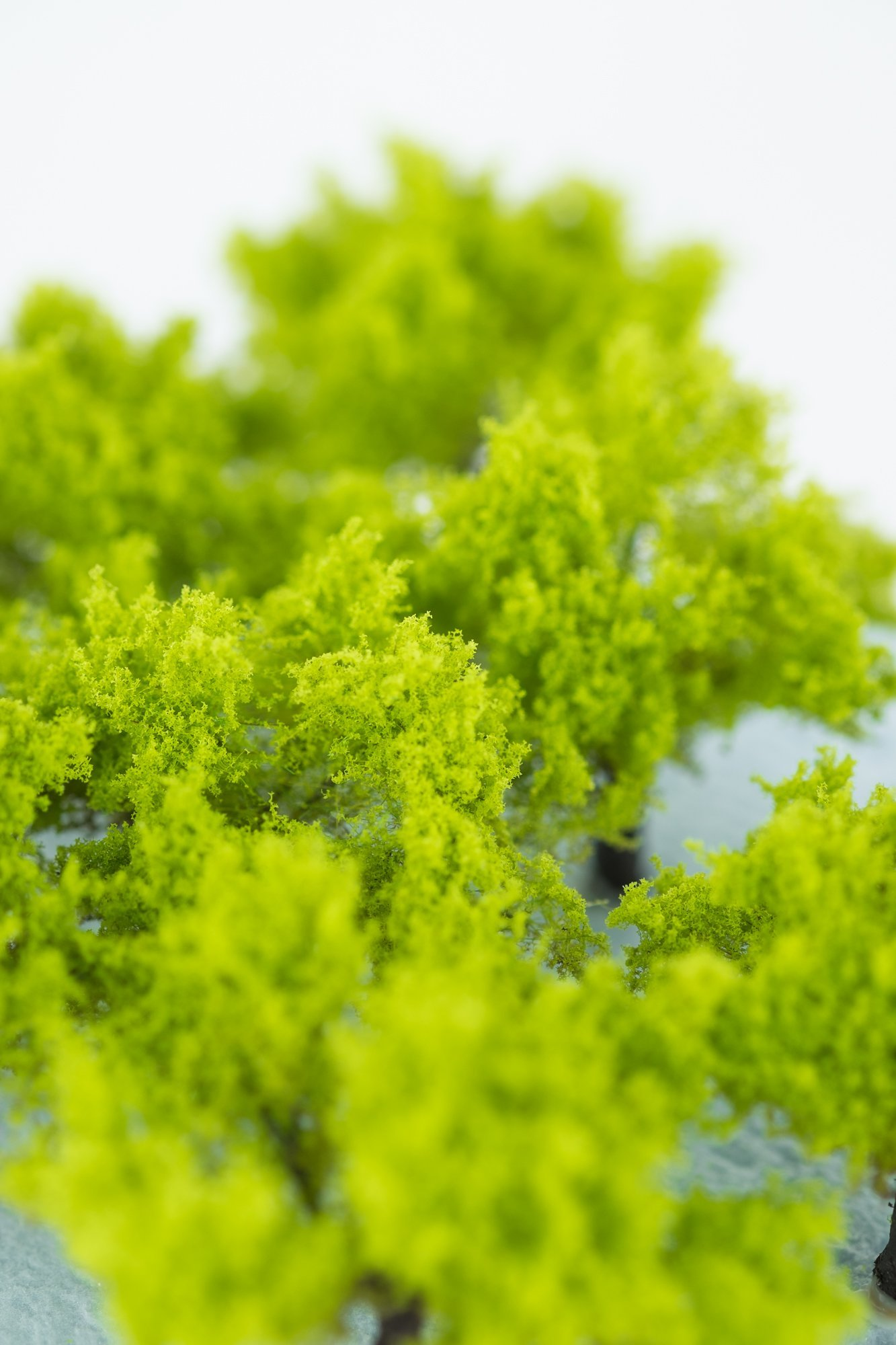 Closeup of foliage on regular light green model bushes. Made from high quality model supplies by Primo Models.