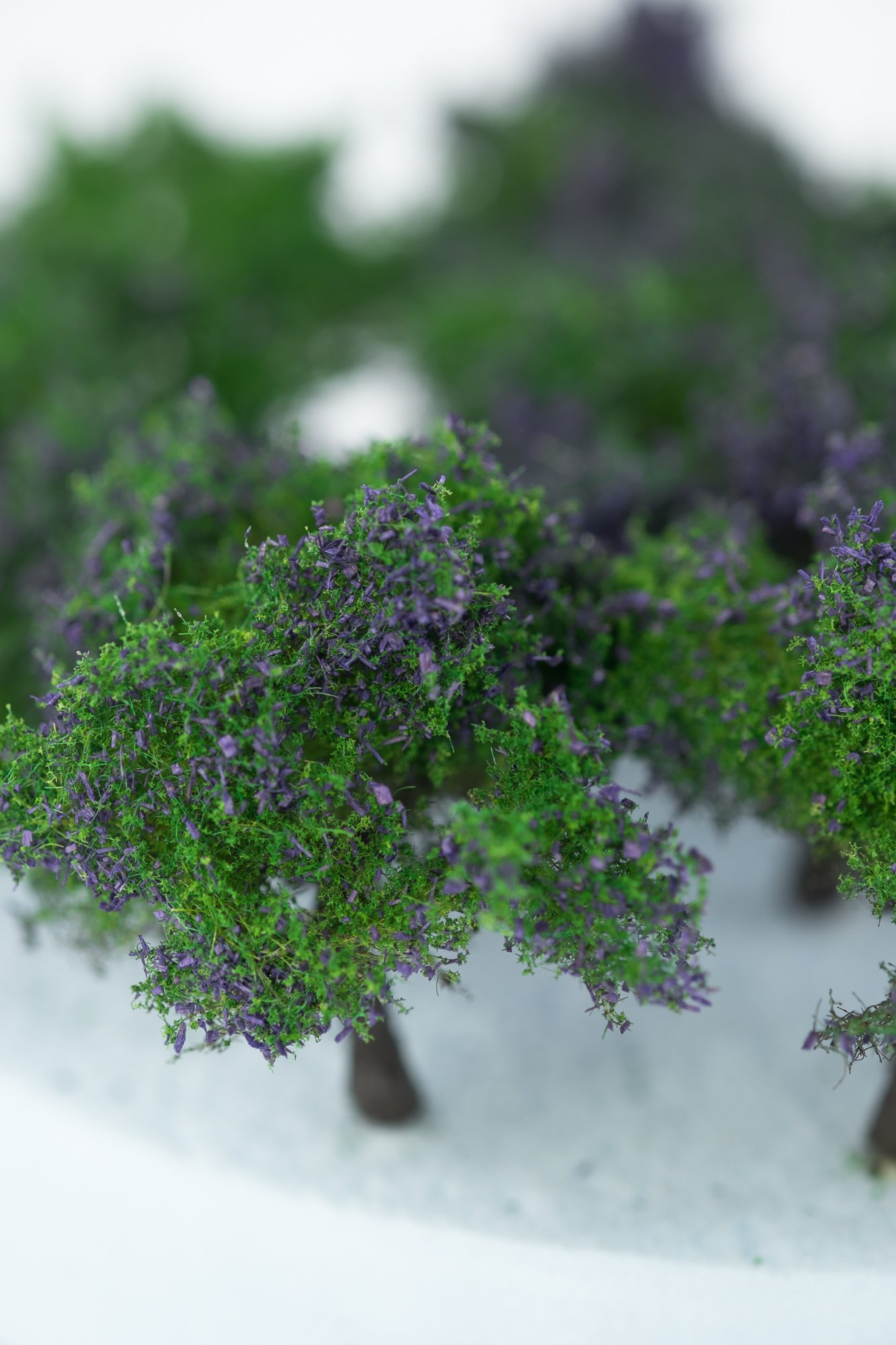 Closeup of foliage on regular purple model bushes. Made from high quality model supplies by Primo Models.