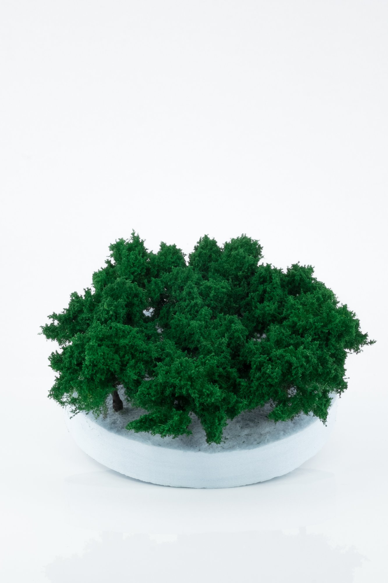 Ten pieces, regular dark green model bushes. Size between 2 and 4 cm. Made from high quality model supplies by Primo Models.