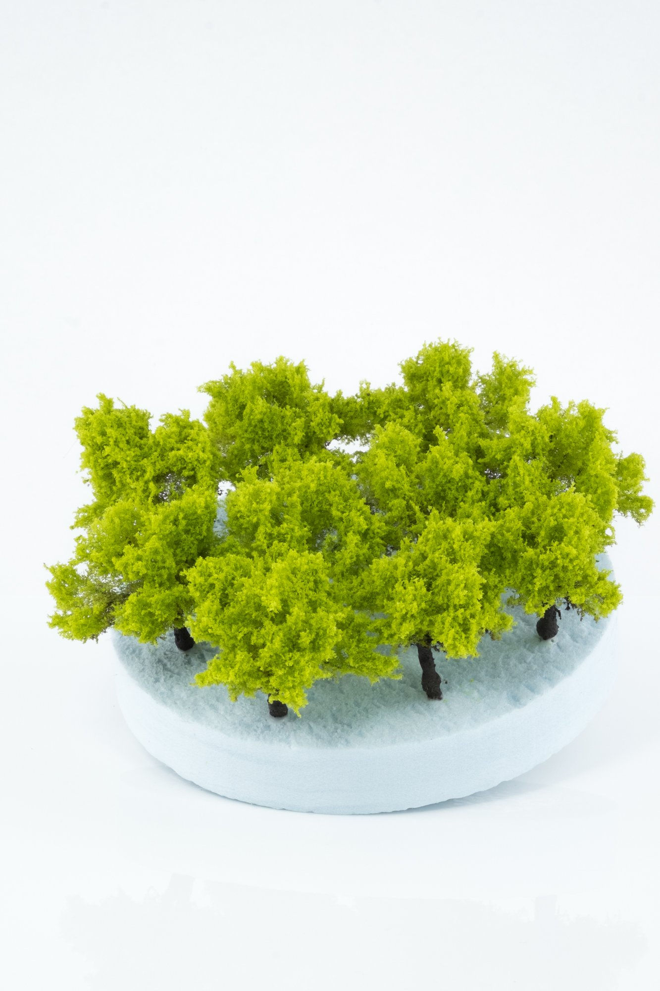 Ten pieces, regular light green model bushes. Size between 2 and 4 cm. Made from high quality model supplies by Primo Models.