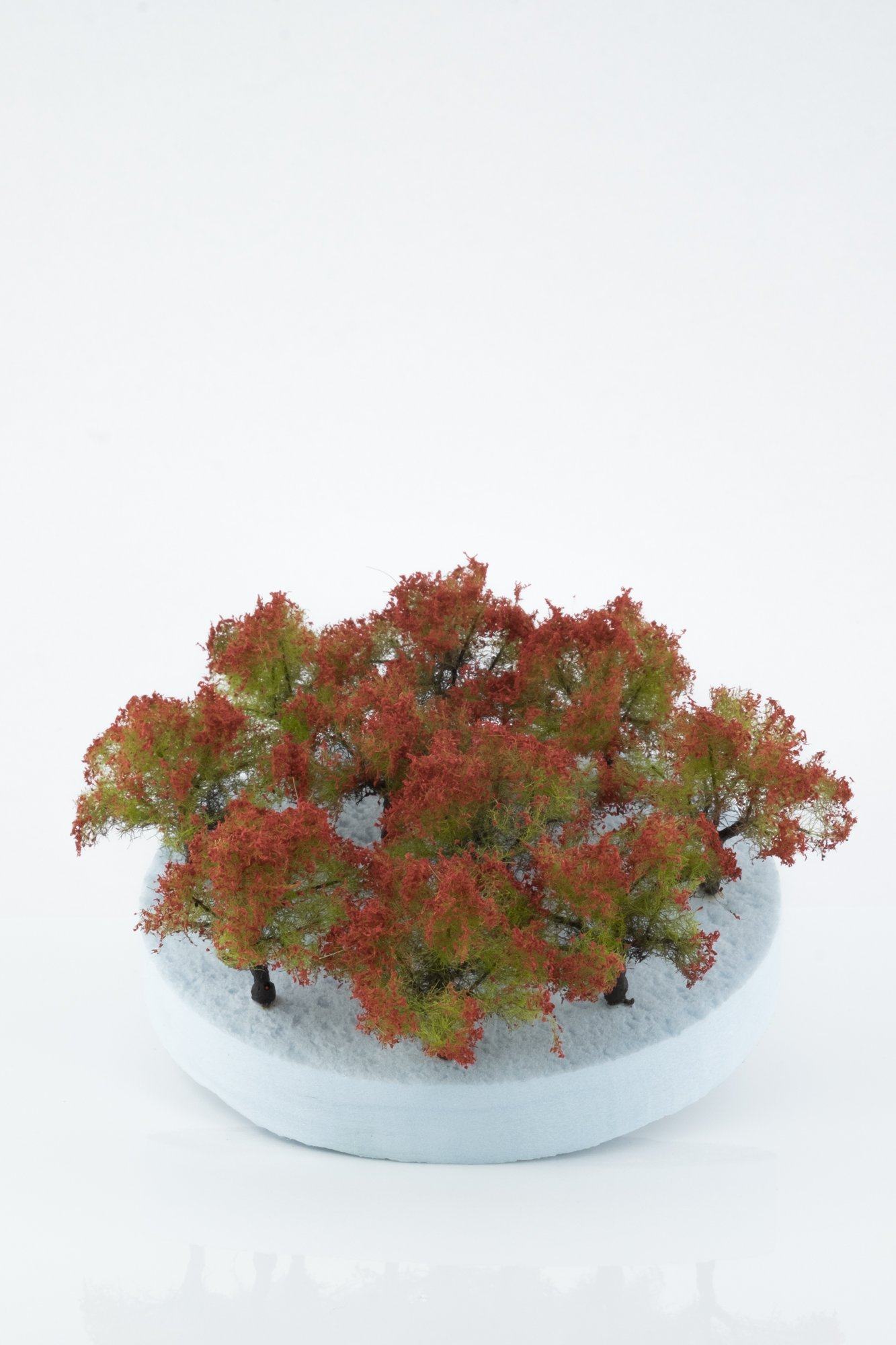Ten pieces, regular red model bushes. Size between 2 and 4 cm. Made from high quality model supplies by Primo Models.