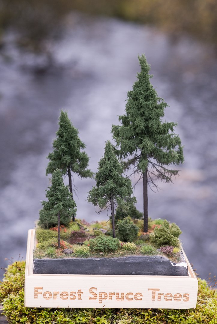 Four, green, forest spruce model trees. Size from 8 to 28 cm. Made from high quality model supplies by Primo Models.