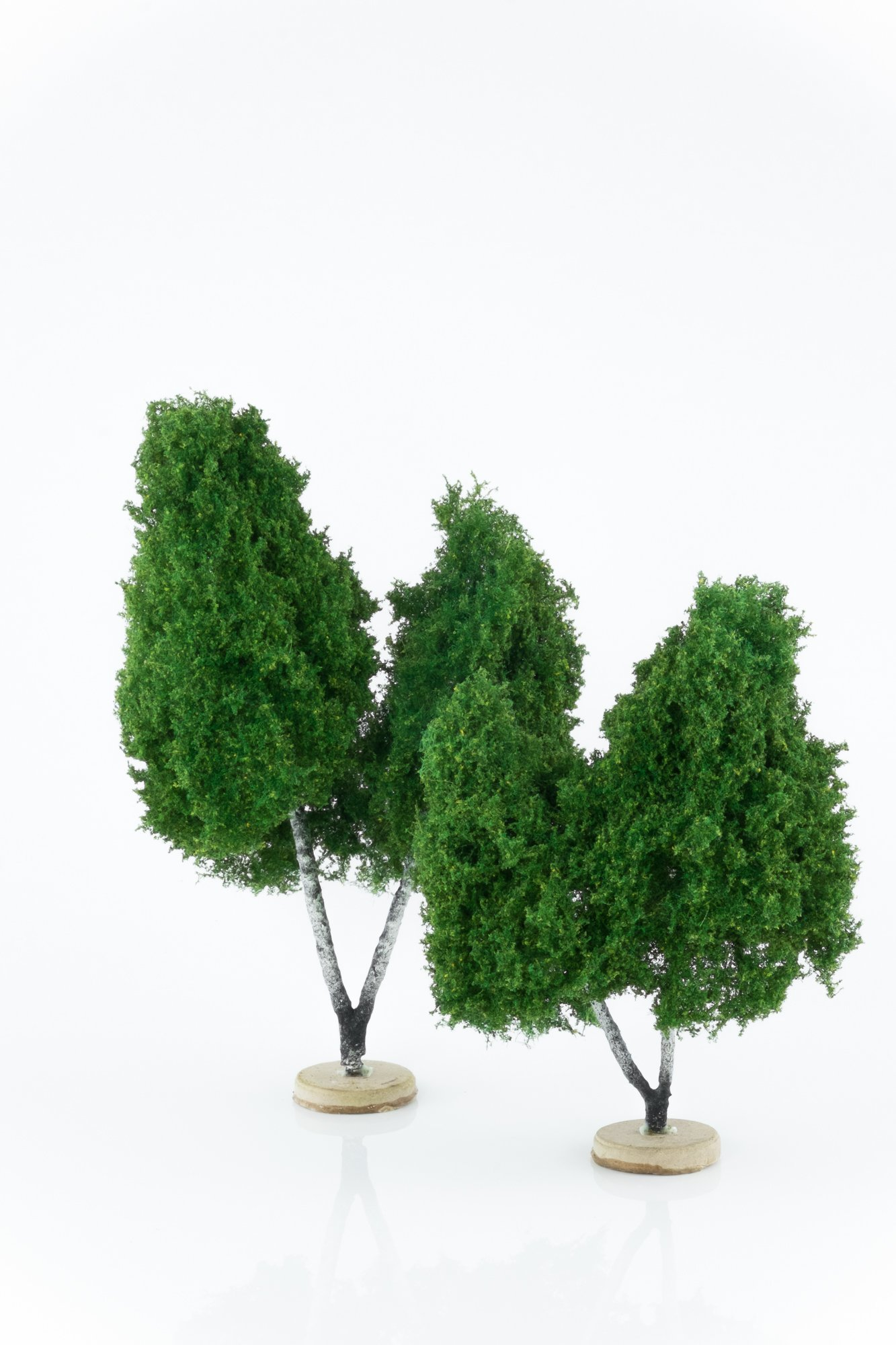Two, green, double birch model trees. Size from 14 to 20 cm. Made from high quality model supplies by Primo Models.