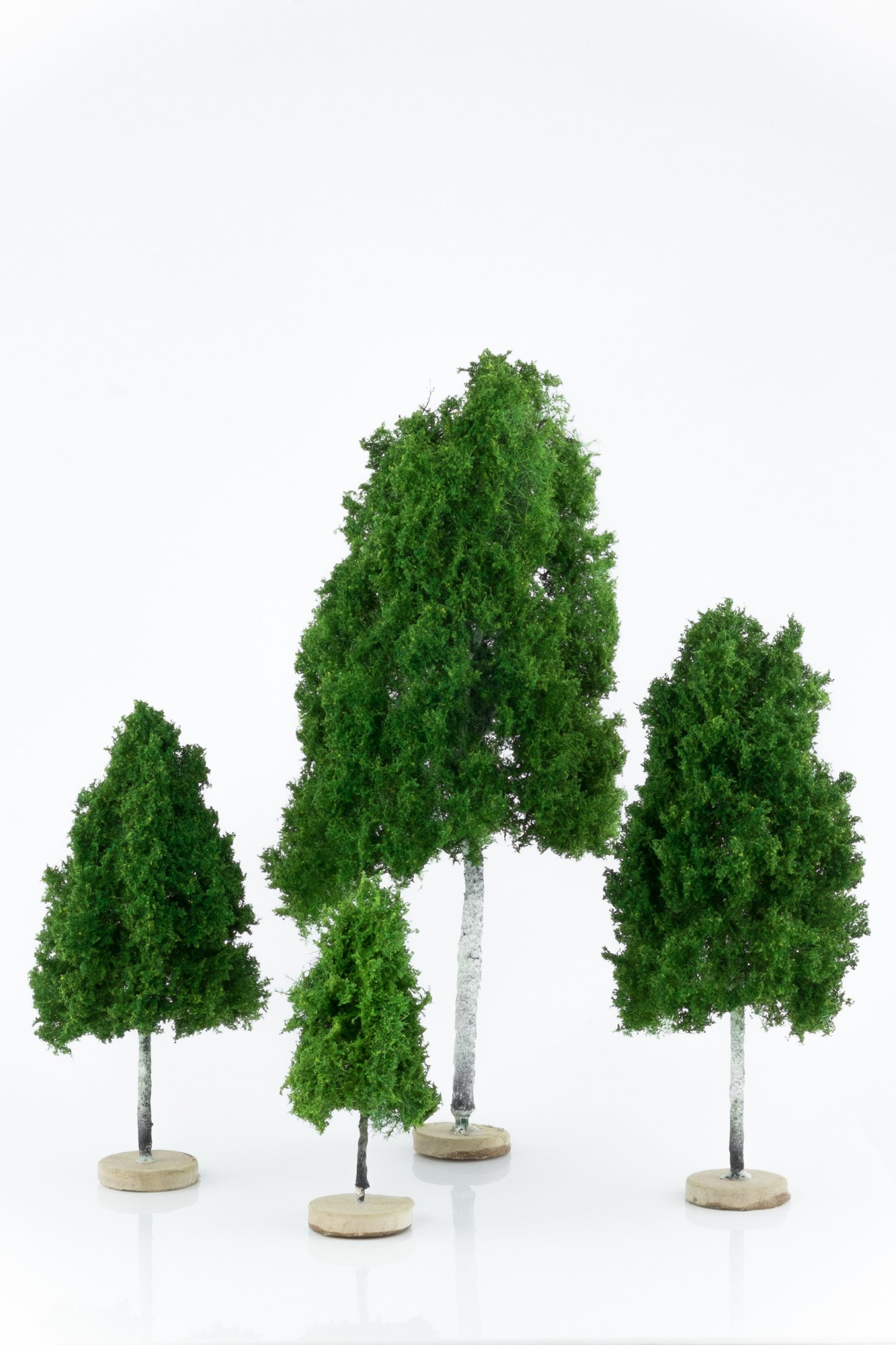 Four, green, birch model trees. Size from 8 to 28 cm. Made from high quality model supplies by Primo Models.
