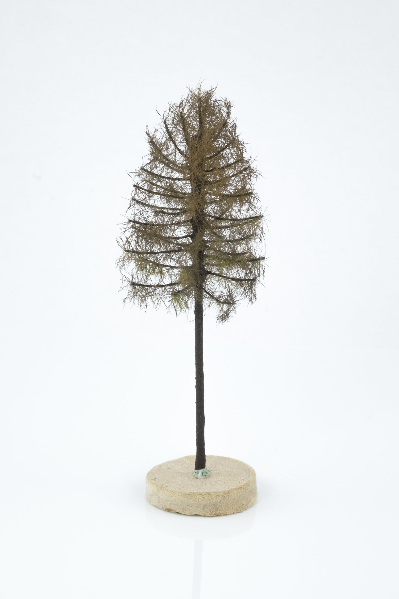 Hand-made, green, dry larch tree model. Size between 8 and 12 cm. Made from high quality model supplies by Primo Models.