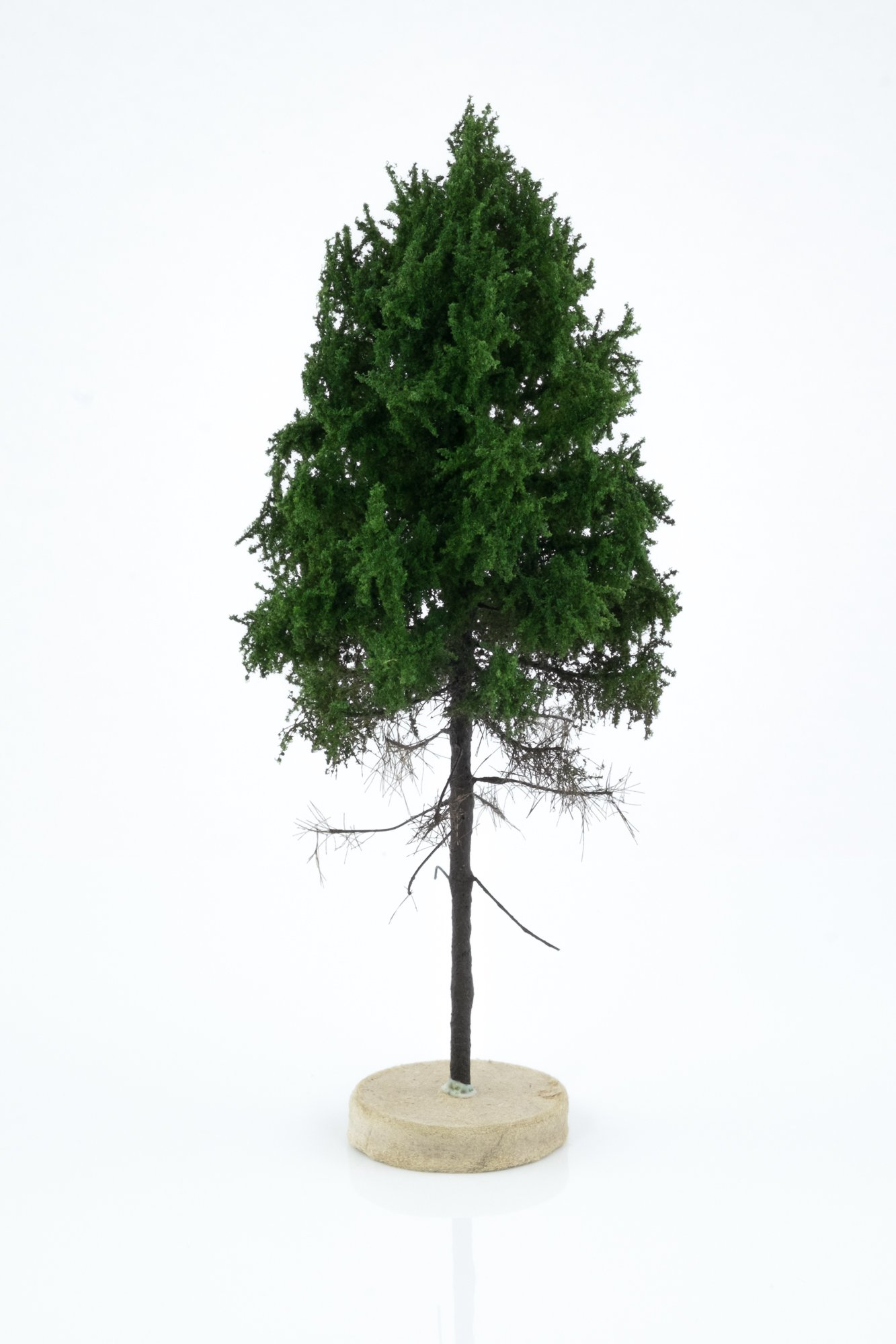 Hand-made, green, forest larch tree model. Size between 14 and 16 cm. Made from high quality model supplies by Primo Models.