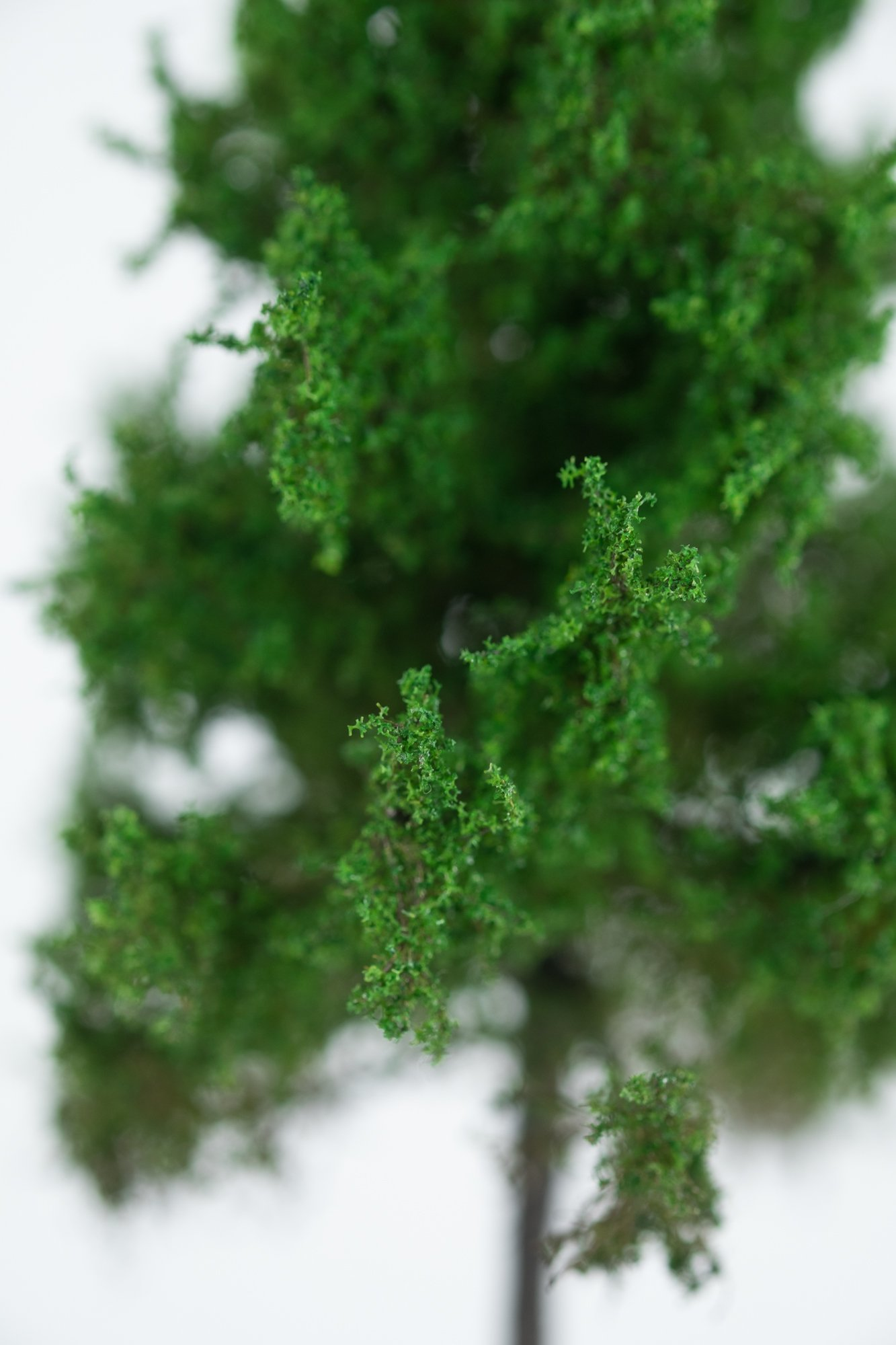 Closeup of foliage on forest larch tree model. Made from high quality model supplies by Primo Models.
