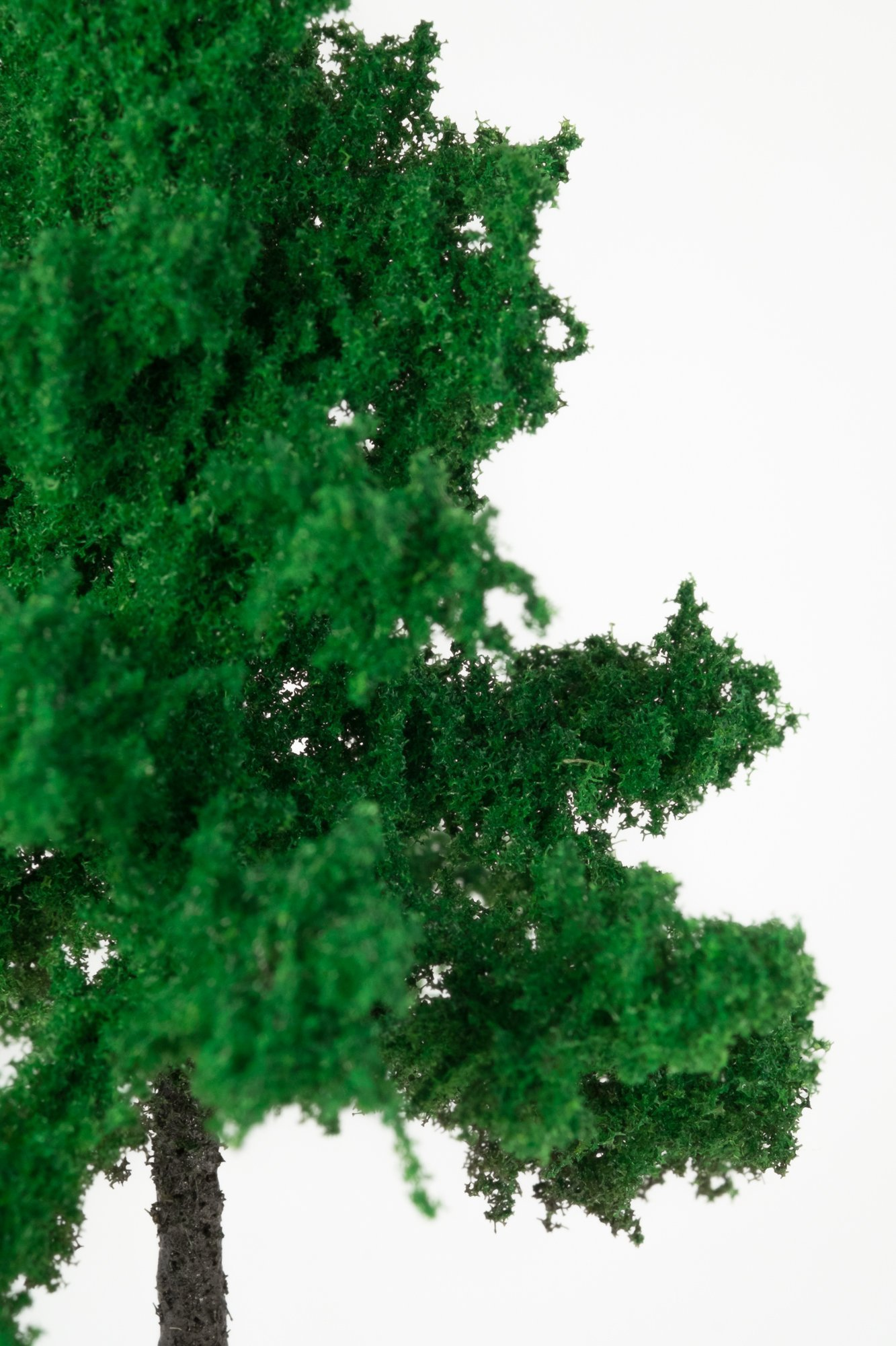 Closeup of foliage on smallest forest spruce tree model. Made from high quality model supplies by Primo Models.