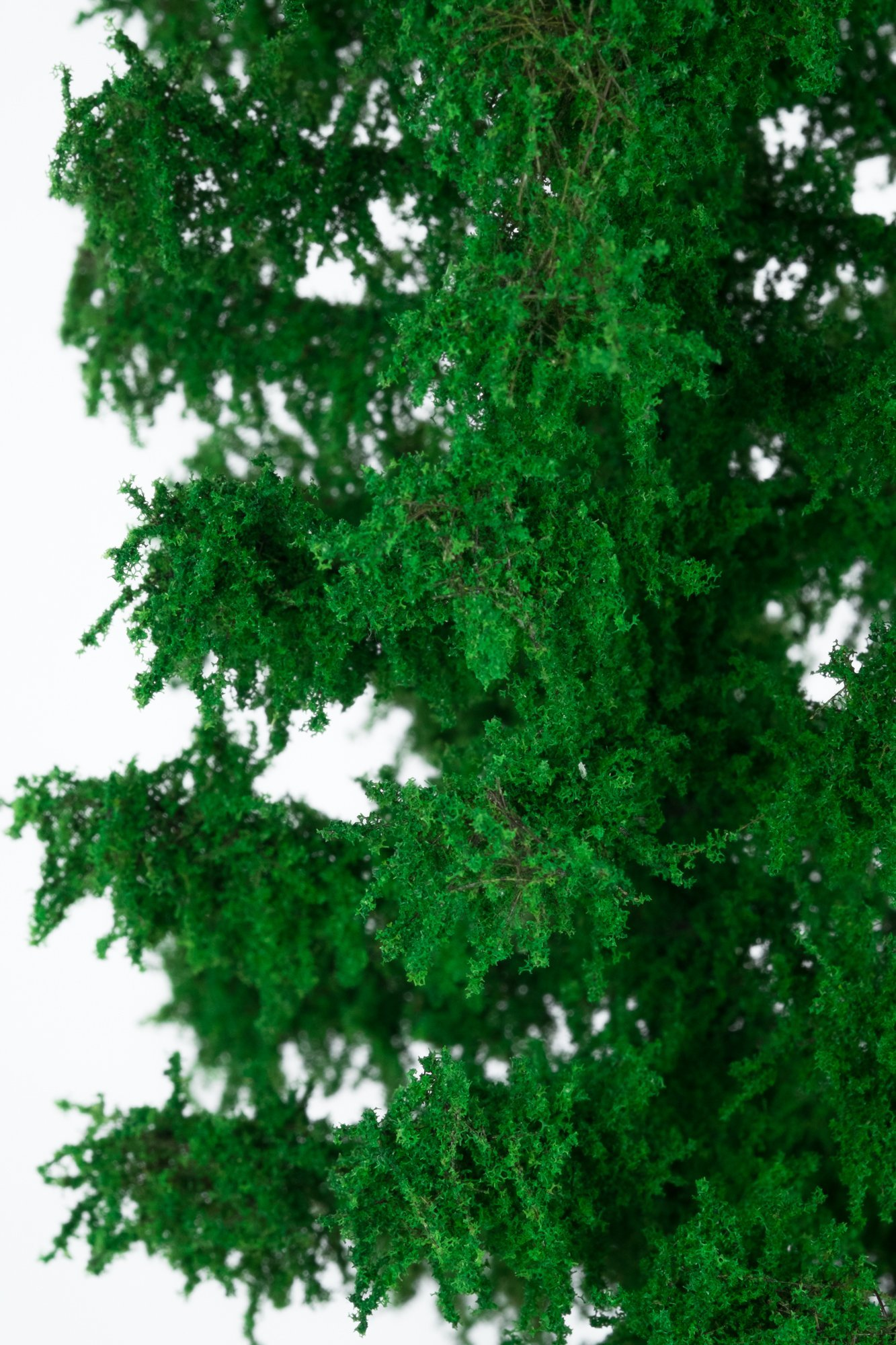 Closeup of foliage on larch tree model. Made from high quality model supplies by Primo Models.