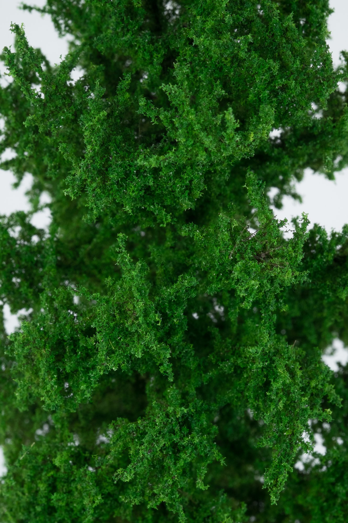 Closeup of foliage on smallest larch tree model. Made from high quality model supplies by Primo Models.