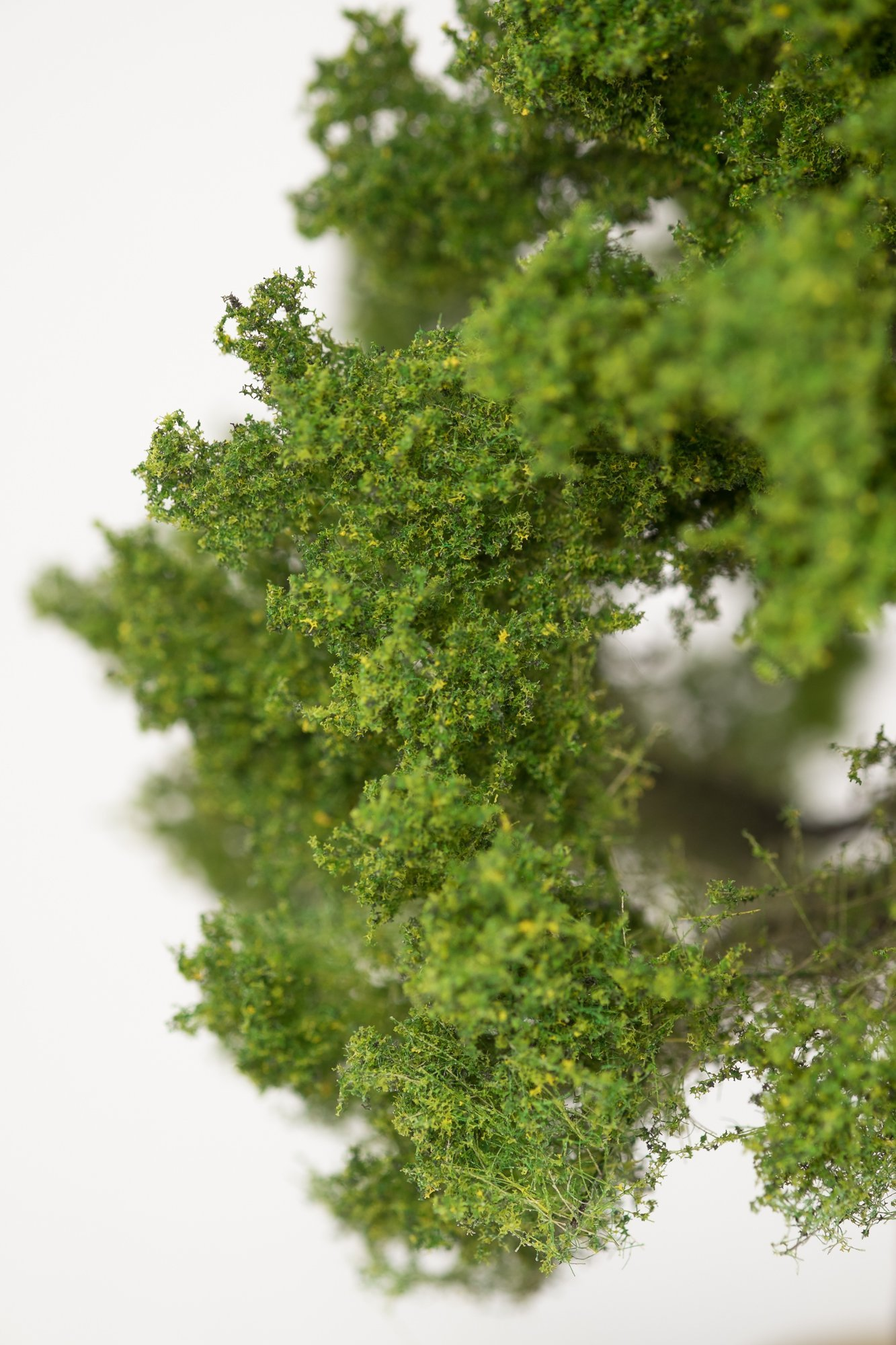 Closeup of foliage on oak tree model. Made from high quality model supplies by Primo Models.