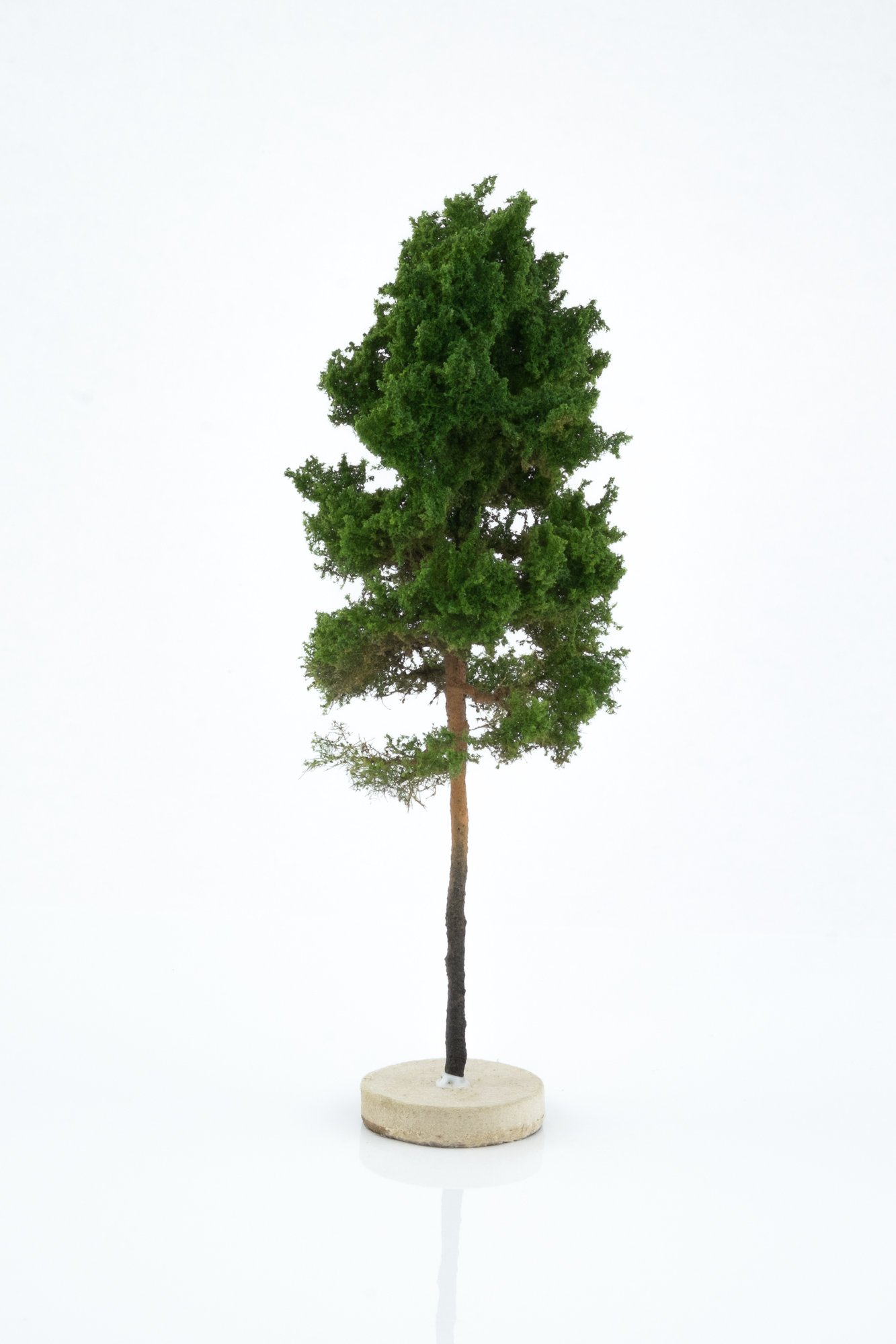 Hand-made, green, pine tree model. Size between 14 and 16 cm. Made from high quality model supplies by Primo Models.