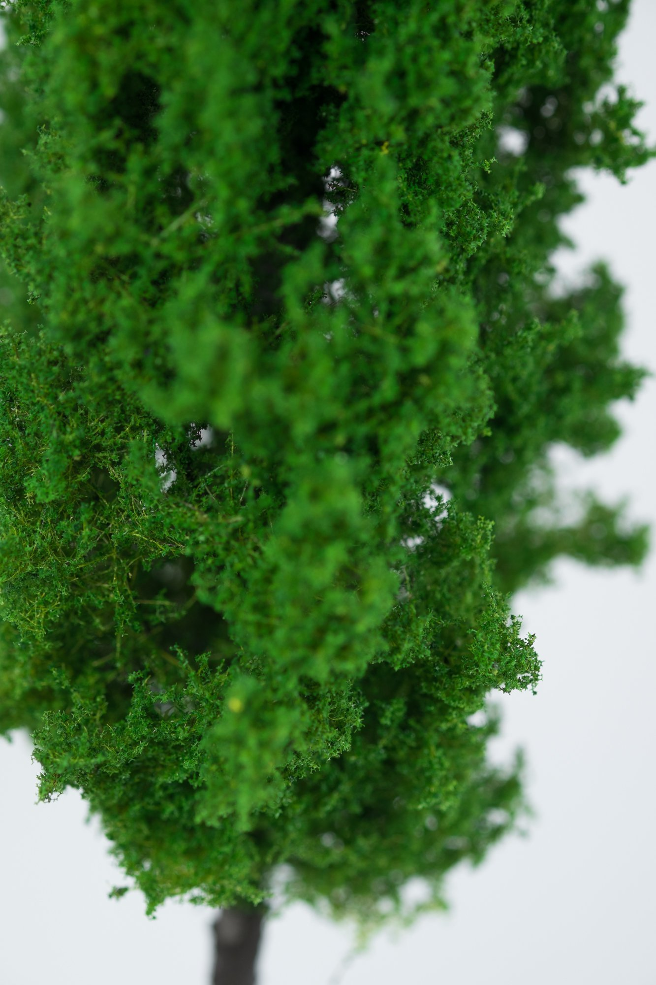 Closeup of foliage on poplar tree model. Made from high quality model supplies by Primo Models.