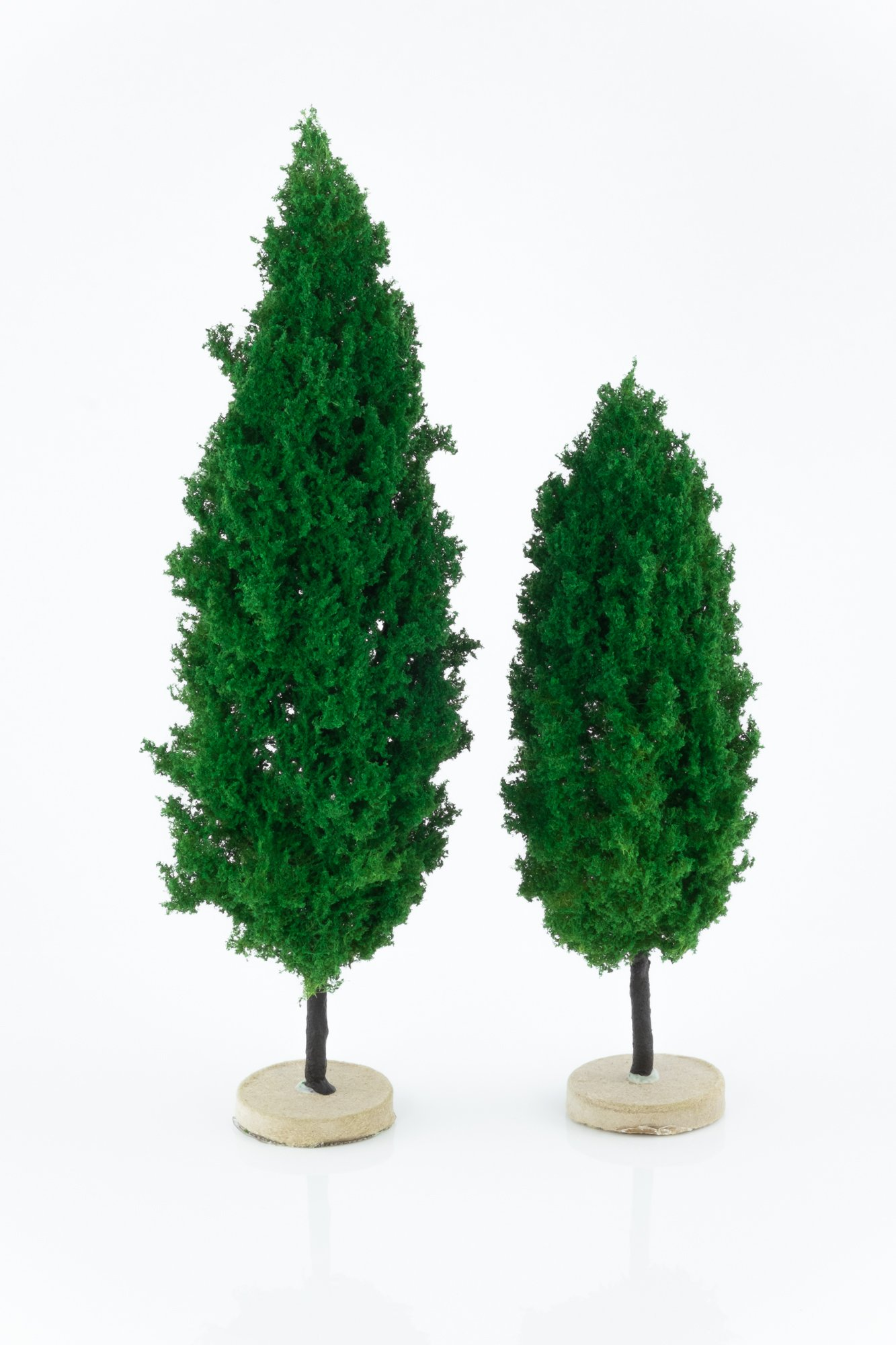 Two, green, poplar model trees. Size from 14 to 20 cm. Made from high quality model supplies by Primo Models.