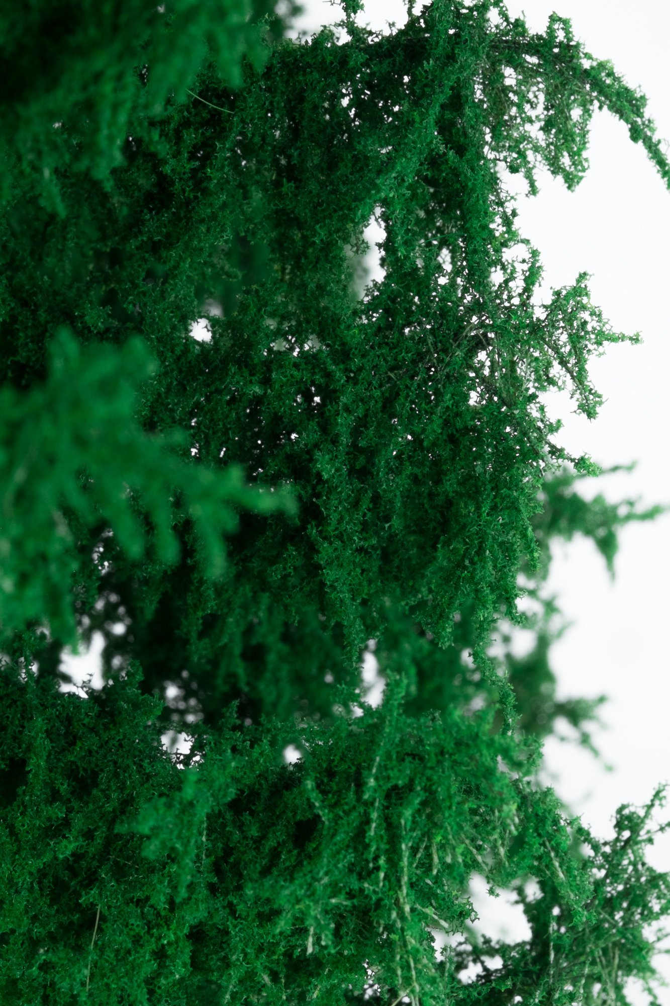 Closeup of foliage on spruce tree model. Made from high quality model supplies by Primo Models.