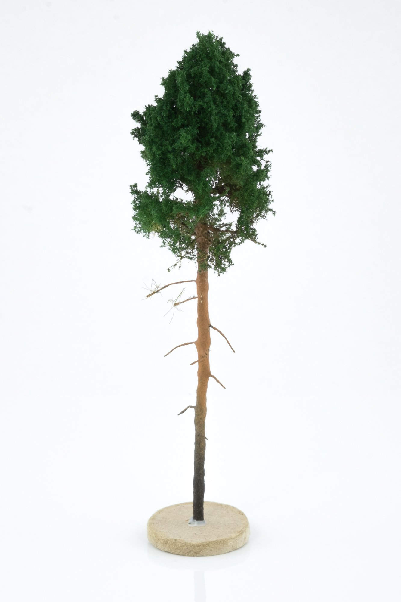 Hand-made, green, young pine tree model. Size between 18 and 20 cm. Made from high quality model supplies by Primo Models.
