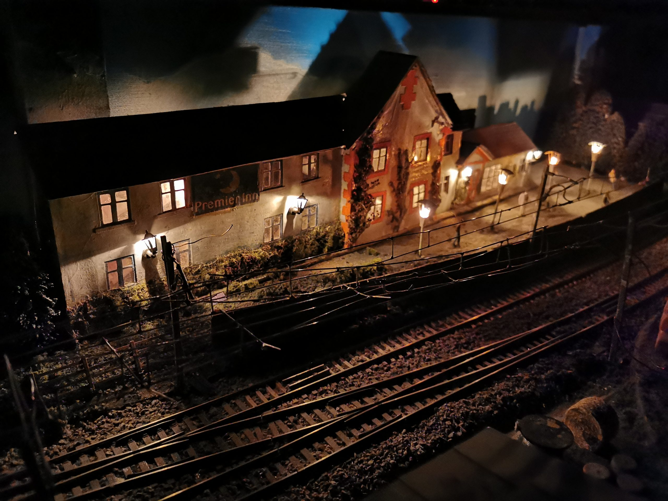 Clydeside Model Railway Club layout at night