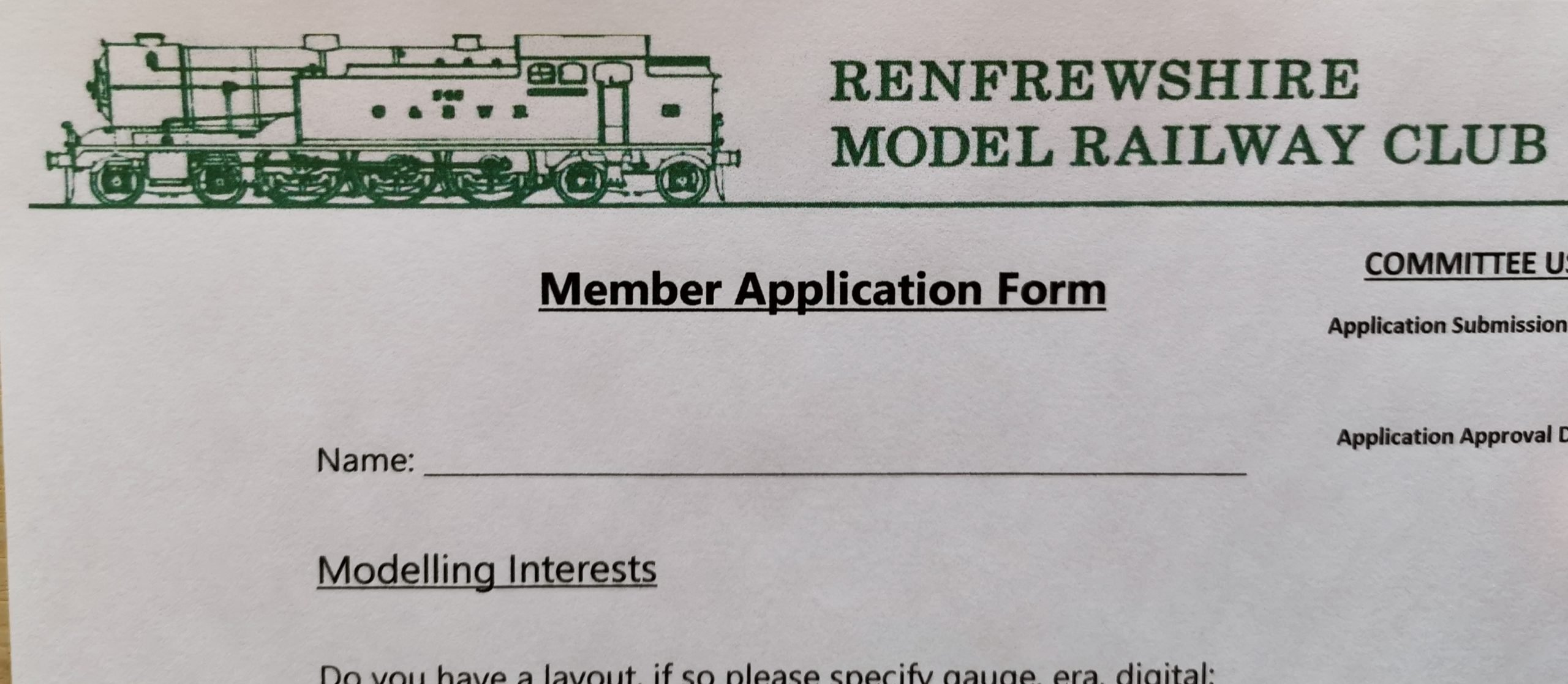 Logo on application form of Renfrewshire Model Railway club
