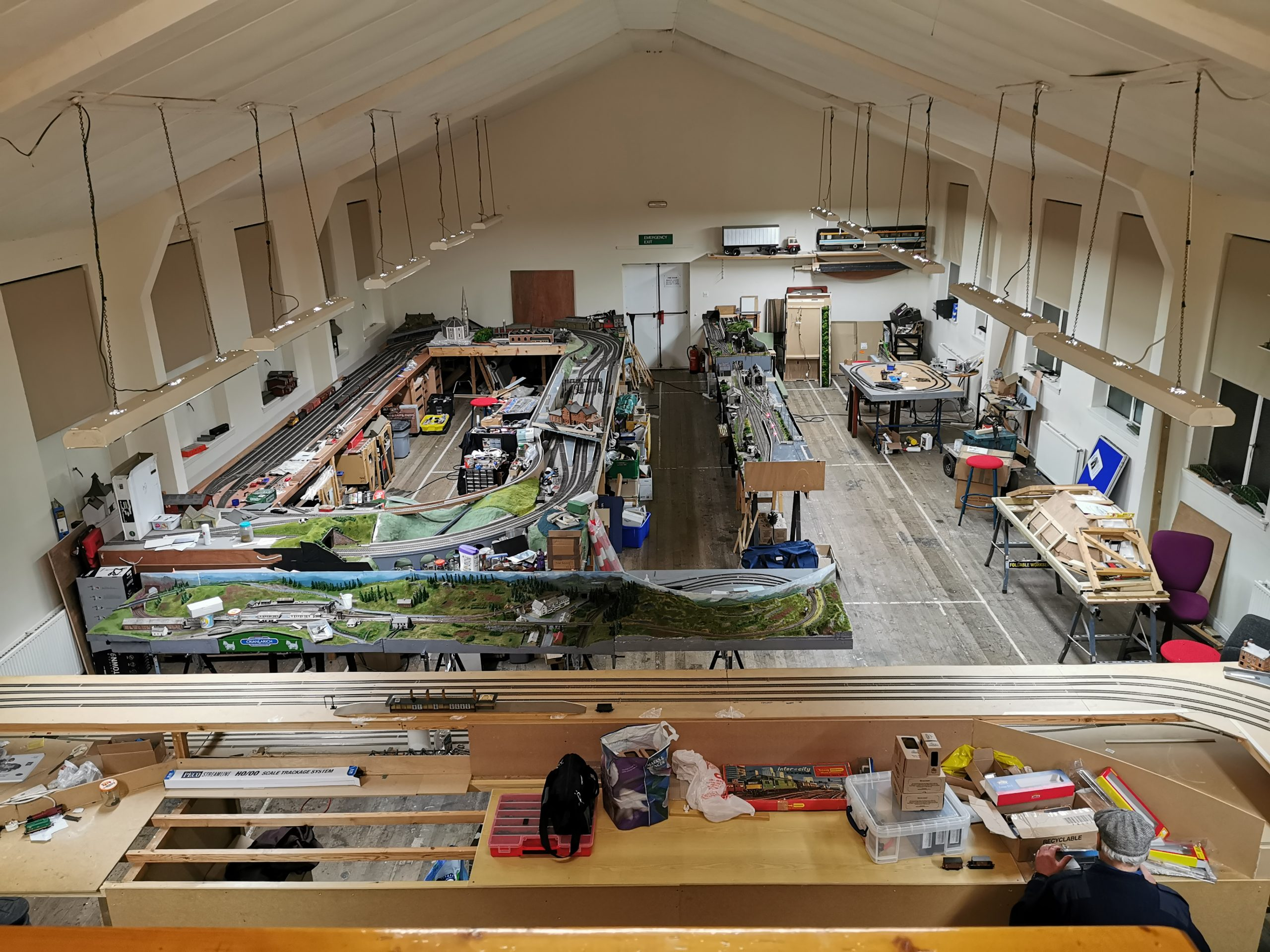 Full view of the main club room of at at Renfrewshire Model Railway club